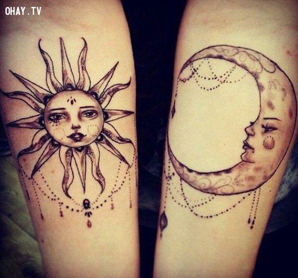 Hình xăm đôi mặt trăng, mặt trời
