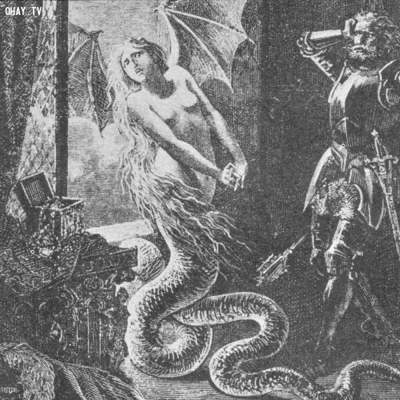 Melusine với đôi cánh rồng