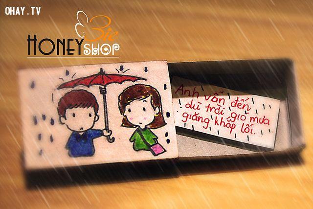 quà handmade, handmade, lãng mạn, tình cảm chân thành, phát sáng , món quà, cho ô, mưa giăng khắp lối, anh yêu, hộp quà