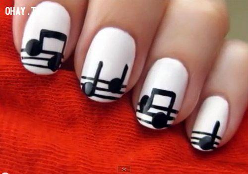mẫu nail, sang trong, thanh lịch, cá tính, mẫu nail đẹp, 2015, bản nhạc