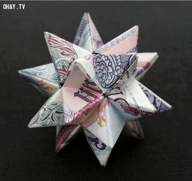 ảnh gấp tiền,cách gấp tiền,sáng tạo,hình khối