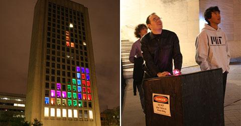 Hacker dành 4 năm 2 tháng để biến tòa nhà thành máy chơi xếp hình Tetris