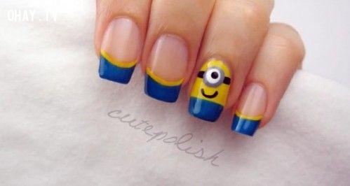 ảnh vẽ móng,vẽ móng kiểu minion,minions,làm nail kiểu minions