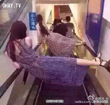 ảnh tai nạn thang cuốn,người Trung quốc đi thang cuốn,bi hài đi thang cuốn,cảnh giác thang cuốn,thang cuốn,thang cuốn hài hước