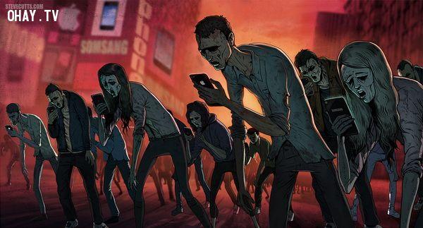 Chúng ta ngày ngày chỉ biết cắm mặt vào smartphone bất kể ở đâu: đường phố, nơi làm việc, nhà