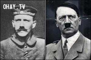 Bộ ria ban đầu của Hitler năm 1914 và sau khi cắt tỉa gọn ghẽ.