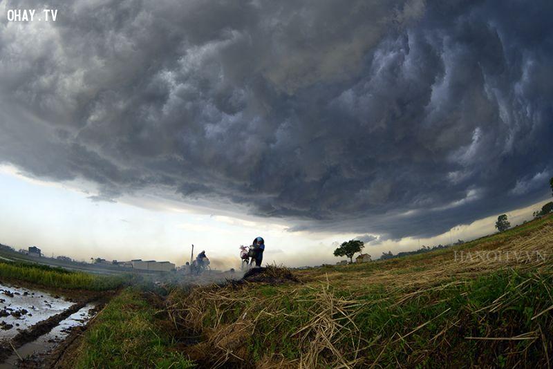 Mây đen, gió to và lạnh là biểu hiện của mưa dông kèm sấm sét
