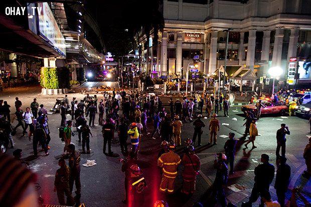 Khu vực xảy ra hai vụ nổ - Ảnh:Bangkok Post