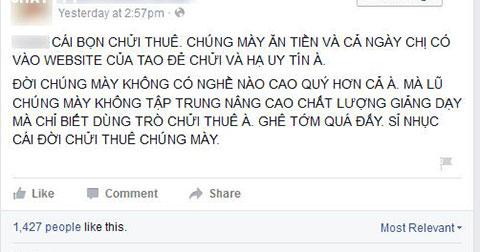 """Fanpage Trung tâm Anh ngữ của cô Lê Na \""""Cung Bọ Cạp\"""" bất ngờ xuất hiện status chửi bậy"""