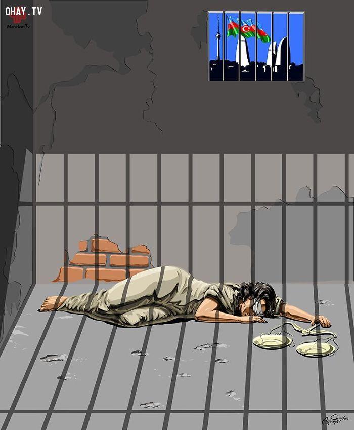 ảnh tranh biếm họa,ảnh biếm họa,tranh châm biếm,ảnh châm biếm,Gunduz Agayev,họa sĩ biếm họa,công lý,nhân quyền