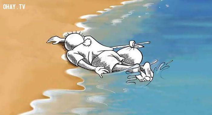 ảnh em bé Syria,chết bên bờ biển,nghệ sĩ,thông điệp,em bé chết đuối,chết đuối,người tị nạn,chìm tàu chở người tị nạn