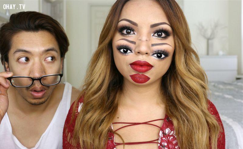 ảnh trang điểm halloween,make up,hóa trang,ảo giác