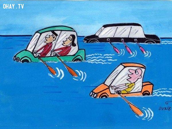 ảnh tranh biếm họa,giao thông,tranh biếm họa lũ lụt,phố thành sông,lụt lội