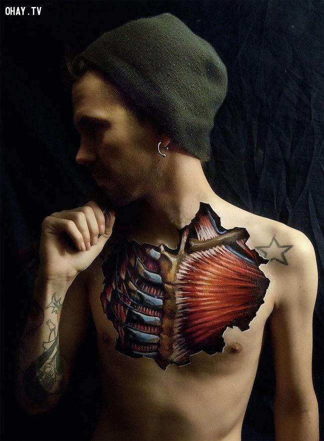 Cùng chiêm ngưỡng bộ ảnh vẽ nội tạng trên cơ thể người vừa nghệ thuật lại vừa ghê rợn