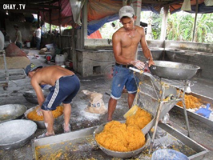Chà bông được tẩm hóa chất rất bắt mắt - Ảnh: Nguoilaodong.com