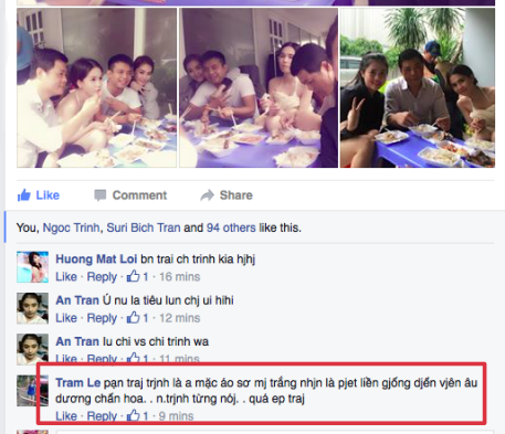 Có bình luận còn nhận xét người đàn ông của Ngọc Trinh giống Dương Chấn Hoa - Ảnh: Facebook