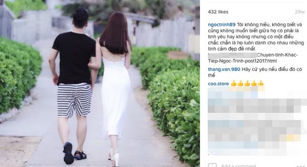 Những tấm hình trước đó Ngọc Trinh đều chụp sau lưng - Ảnh: Instagram