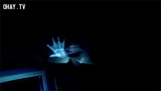 Một bàn tay năm ngón như con người và có màng như cá đặt trên kính tàu ngầm của những thủy thủ ở biển Greenland.