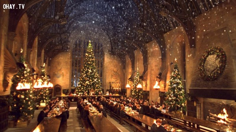 ảnh hogwarts,harrypotter,christmas