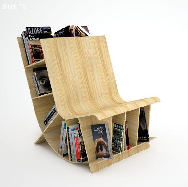 Giá sách trong ghế gỗ
