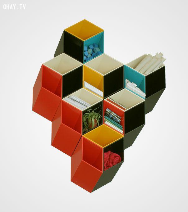 Giá sách khối vuông