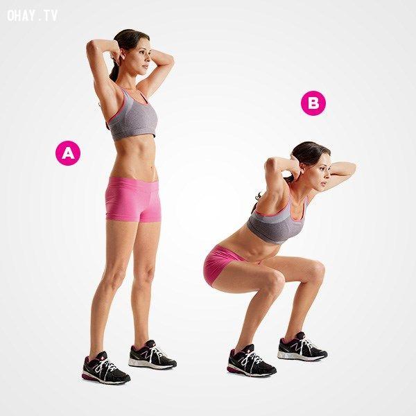 Bài tập đứng lên ngồi xuống có tác động tổng hợp tới các cơ bụng, đùi, mông.