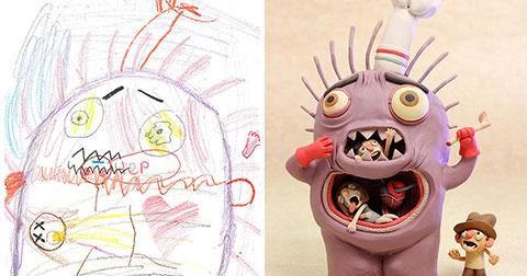 Khi những bức vẽ của trẻ em được vẽ lại bởi họa sĩ chuyên nghiệp