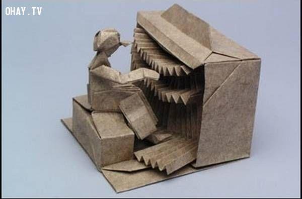Đàn piano và người chơi Origami