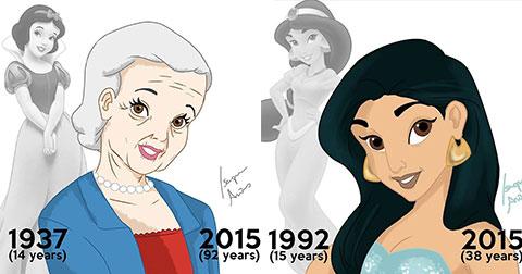 Khi những nàng công chúa của Disney cũng… già đi theo năm tháng