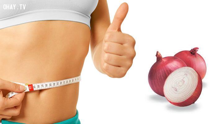 ảnh giảm béo,giảm cân,hành tây,giảm cân bằng hành tây
