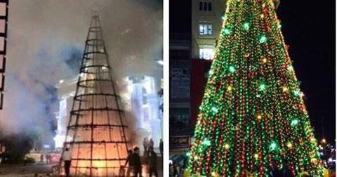 Cây thông Noel Vincom Hạ Long bất ngờ bị cháy trước giáng sinh