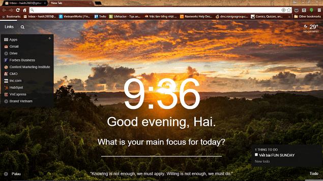 Một giao diện củaGoogle  Chrome khi sử dụng momentum