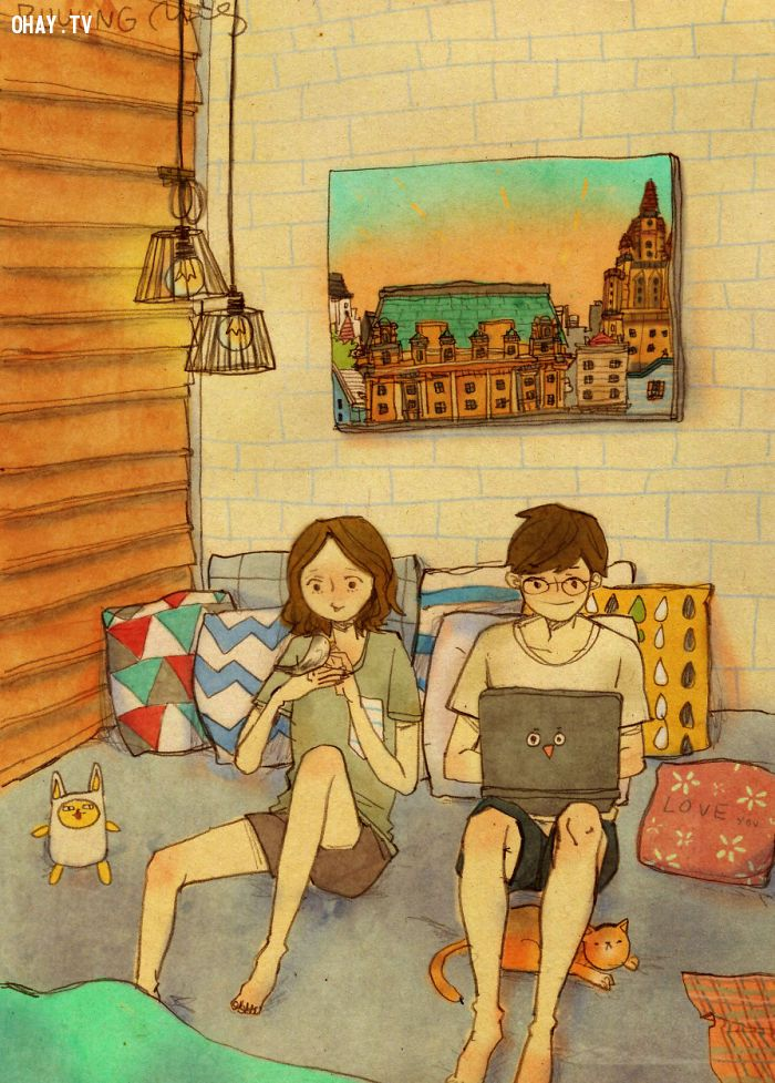 ảnh tình yêu,họa sĩ Puung,tranh vẽ tình yêu