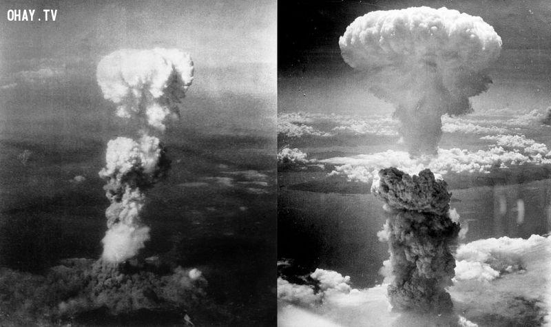Đám mây nấm từ bom nguyên tử trên bầu trời Hiroshima (trái) và Nagasaki (phải)