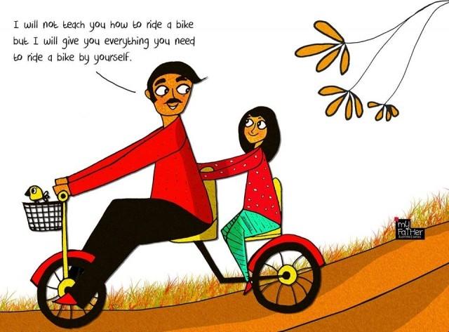 6. Bố sẽ không dạy con đi xe đạp nhưng bố sẽ trao cho con mọi thứ con cần để lái chiếc xe của mình.,bố dạy con gái,bài học từ bố