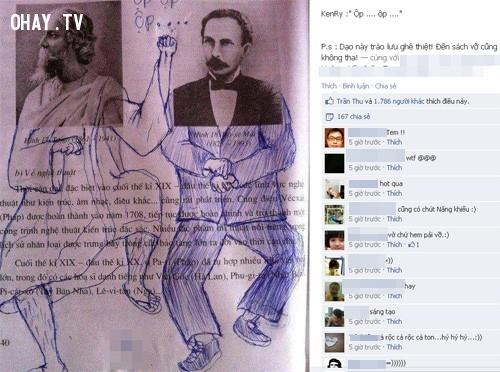 Gangnam Style gây sốt mọi nơi.,ảnh chế,học sinh,sách giáo khoa,vẽ bậy