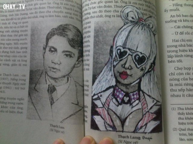 Thạch Lam phiên bản coplay.,ảnh chế,học sinh,sách giáo khoa,vẽ bậy