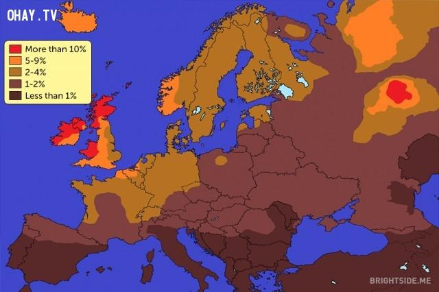 Một bản đồ hiển thị số người tóc đỏ trên thế giới đứng đầu là Châu Âu,bản đồ thú vị,bản đồ kì lạ,tổng hợp,bản đồ thế giới