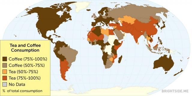 Một bản đồ cho thấy tỉ lệ tiêu thụ trà, cà phê trên thế giới,bản đồ thú vị,bản đồ kì lạ,tổng hợp,bản đồ thế giới