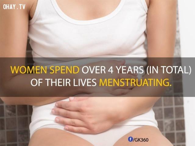 10. Tính tổng cộng, chu kỳ kinh nguyệt của phụ nữ kéo dài hơn 4 năm.,sự thật đáng kinh ngạc,sự thật thú vị,những điều thú vị trong cuộc sống,phụ nữ,có thể bạn chưa biết