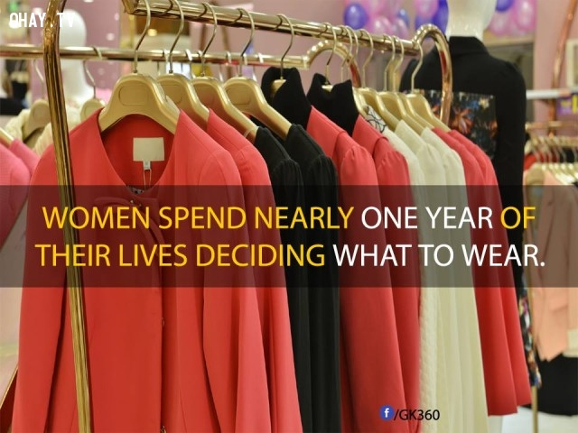 3. Phụ nữ dành gần một năm trong suốt cuộc đời mình chỉ để quyết định mặc gì.,sự thật đáng kinh ngạc,sự thật thú vị,những điều thú vị trong cuộc sống,phụ nữ,có thể bạn chưa biết