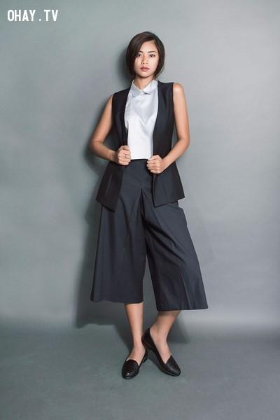Phá cách với quần culottes, áo sơ mi không tay cổ cao và áo gile khoác ngoài.,menwear,bạn gái,mặc đẹp
