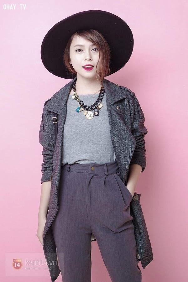 Cầu kỳ chút ít với áo thun, quần vải, áo khoác dáng dài đồng màu và mũ pandora.,menwear,bạn gái,mặc đẹp