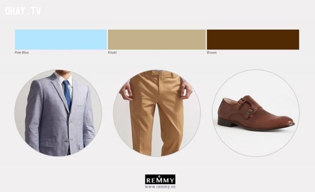 Xanh nhạt - Kaki - Nâu,phối đồ nam,cách phối đồ,thời trang nam