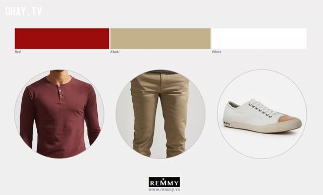 Đỏ  - Kaki - Trắng,phối đồ nam,cách phối đồ,thời trang nam
