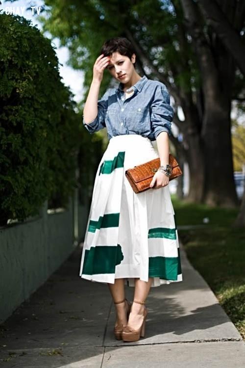 ,váy midi,thời trang,mặc đẹp,bạn gái