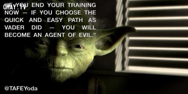 9. Nếu con ngừng việc tập luyện - nếu con chọn con đường nhanh chóng và dễ dàng như Vader - con sẽ trở thành đại diện của cái ác.,star wars,châm ngôn sống,câu nói hay trong phim,master yoda,câu nói hay