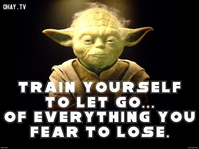 3. Những thứ bản thân sợ mất đi, hãy dũng cảm buông bỏ.,star wars,châm ngôn sống,câu nói hay trong phim,master yoda,câu nói hay