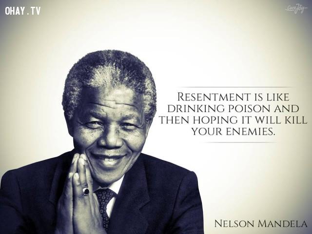 7. Oán giận giống như tự mình uống thuốc độc rồi hy vọng nó sẽ giết chết kẻ thù của mình vậy.,câu nói truyền cảm hứng,câu nói hay,trích dẫn truyền cảm hứng,Cựu Tổng thống Nelson Mandela