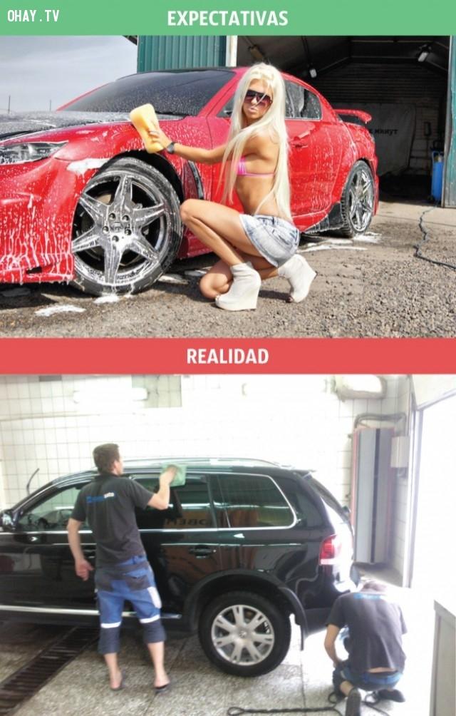 Chỗ rửa xe trong tưởng tượng của đàn ông và thực tế,hài hước,đàn ông hài hước,đàn ông tưởng tượng